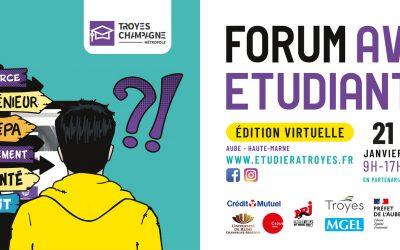 Forum Avenir Étudiant 2021 – édition virtuelle – du 21 au 23 janvier 2021