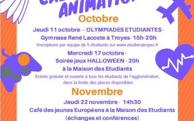Les événements à la Maison des Étudiants en octobre et novembre 2018