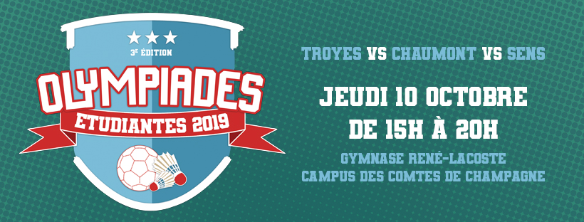 Olympiades Étudiantes 2019 le jeudi 10 octobre 2019