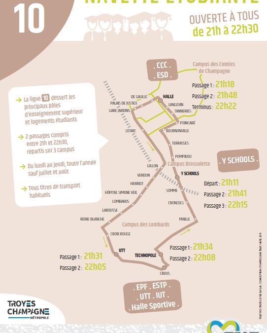 Navette étudiante de bus en soirée par la TCAT pour 2019-2020