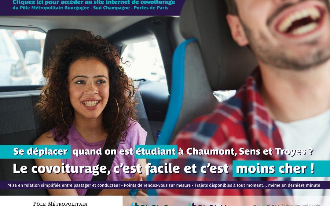 Site internet BlaBlaCar/BlaBlaLines de covoiturage pour les étudiants du Pôle Métropolitain Chaumont-Sens-Troyes
