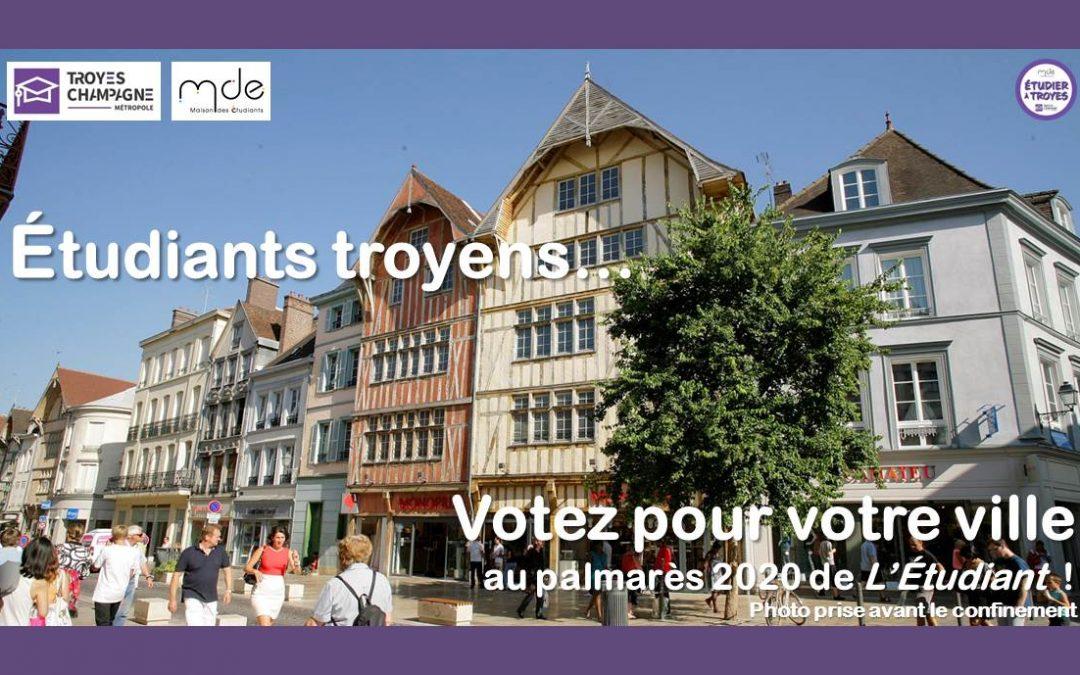 Étudiants, votez pour Troyes au palmarès 2020 de L'Étudiant